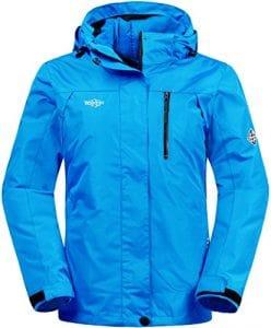 Wantdo Femme Anorak Veste de Ski Imperméable 3 en 5 Blouson Doublure Matelassé Bleu foncé XX-Large
