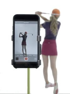 Enregistreur de swing de golf par Selfiegolf TM, support de fixation pour téléphone portable à clip, Blanc/gris