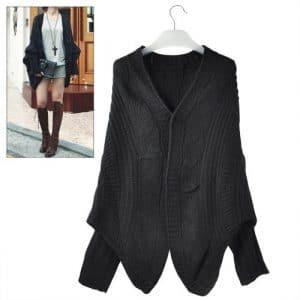 TOOGOO(R) Cardigan Tricote Manteau en forme d'Aile de Chauve-Souris Femme Casuel Lady Casual Lache Sweater Veste Laine Top-Noir