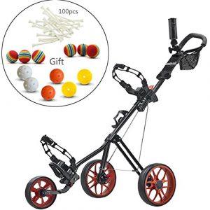 Caddytek Superlite Deluxe Cart-black Poussoir avec Practise Balles de golf et tees de 100pcs Kits, Red