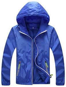 Mochoose Homme Légère Packable Veste de Sport à Capuche Protection UV Coupe Vent à Séchage Rapide(Bleu Clair,L)