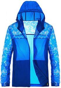 Mochoose Homme Légère Packable Veste de Sport à Capuche Protection UV Coupe Vent à Séchage Rapide(Bleu,3XL)
