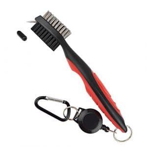 Pinceau de Golf et Club Double face Groove Cleaner, Golf Bag Accessoires, 2ft Retractable Zip Line Mousqueton en aluminium, Rouge/noir