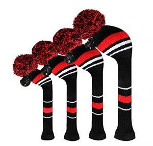 Scott Edward d'avertissement Rouge rayé Housses de tête de club de golf, fil Acrylique Double-layers en tricot, Lot de 4, avec rotatif Nombre balises