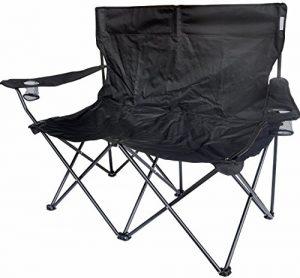 TrottyBrand Double chaise de camping pliante–Big–solide, 634158852640, Noir, 148×54.5x98cm