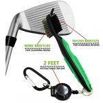Yupro Lightweight 2 Ft r¨¦tractable Golf Brush Cleaner double Multi-Purpose Sided boule de nettoyage Pince Kit club Groove Cleaner avec Zip-line en aluminium Mousqueton