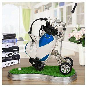 crestgolf Stylo Chariot de golf, golf Bleu en Cuir PU Support avec 3stylos en forme de golf Gear/Tapis de gazon en plastique (une variété de couleurs pour votre Référence), Lot de 1Pièce
