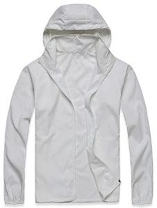 Mochoose Femme Légère Packable Veste de Sport à Capuche Protection UV Coupe Vent Imperméable à Séchage Rapide(Blanc,XXL)
