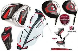 Wilson HDX Combo tout Graphite kit de golf complet avec Wilson Ionix Prostaff Sac de golf avec support Harmanized M2Putter, 1HDX Driver 460cc & HDX 3Bois de parcours. 3et 4combo hybride, 6–Sand Wedge Fers Combo (du fer avec manches en graphite)