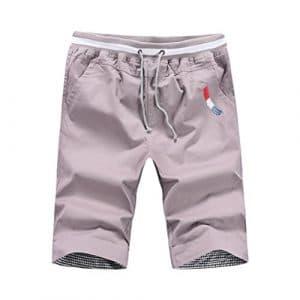 Bovake Shorts Hommes, Mode Sport Cinq Points Pantalons de Tout Droit Plage Shorts (Gris, 3XL)
