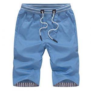 Bovake Shorts Hommes, Pantalon de Sport pour Été Loisir Grande Taille de Plage Raccourci Droit Shorts (Bleu, L)