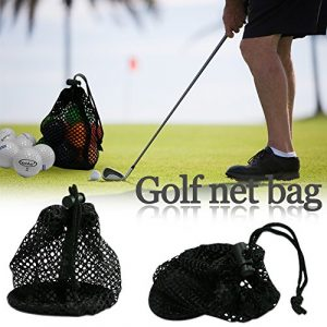 Filet en nylon durable Sac pochette de golf Balle de tennis 12-15 balles de transport support de stockage Sac de cordon de fermeture avec boucle de printemps, Sac équipement en maille réglable, cordon de serrage Fermeture coulissante