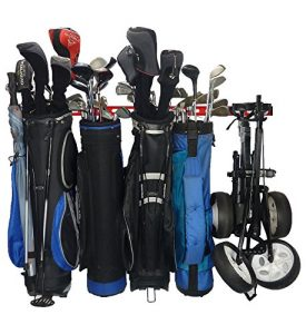 Gearhooks Golf Système de stockage | Sac de golf Rack de stockage pour une utilisation avec 2, 3, 4ou 5Sacs de golf | Garage Système de stockage Idéal pour sacs, privé et golf chariots, Red | 5 Golf Bag Storage