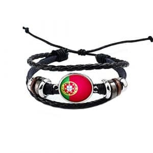 Good01 Russie Coupe du monde de football 2018 – Drapeau national réglable simili cuir bracelet Manchette pour les amateurs de, Portugal, Silver*