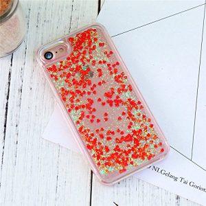 Horrenz Housse pour iPhone 7 8 iPhone 6 6S Plus 5 SE Case Glitter 5S Quicksand Cas de t¨¦l¨¦phone transparent pour iPhone 7 8 Plus d'accessoires [rouge pour iphone 6 6s]