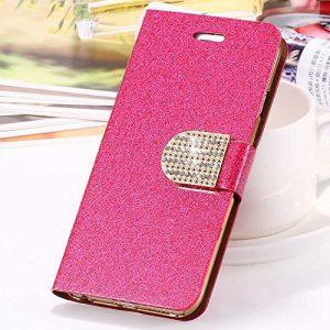 Horrenz l'iPhone 6 6S Plus 7 8 Plus Cover Glitter Bling cristal de diamant Porte-monnaie en cuir pour Samsung Galaxy S6 bord Sacs Edge S7 [plus rose chaud pour iphone 7 8 Plus]