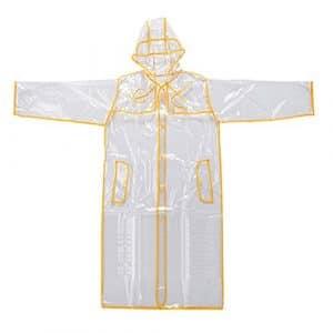 Hrph Mode EVA Manteau Imperméable Transparent Raincoat Femme Veste Imperméable Coupe-Vent à Capuche Poncho Extérieur Rainwear