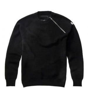 Langmotai Pull en tricot Nouveau Chandail Coton Pull Manches Zip Pull Col O Urban Men's Sweater,Black,L