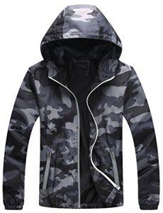 Mochoose Femme Légère Packable Veste de Sport à Capuche Protection UV Coupe Vent à Séchage Rapide(Gris,L)