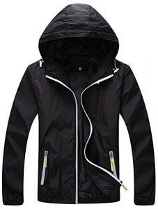 Mochoose Femme Légère Packable Veste de Sport à Capuche Protection UV Coupe Vent à Séchage Rapide(Noir,M)