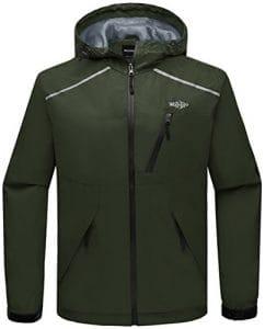 Wantdo Homme Veste de Pluie Légère Imperméable à Capuche Coupe-Vent pour Printemps Été Automne Vert Militaire Large