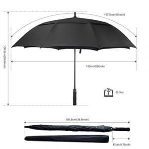 ACEIken Parapluie de Golf Automatique – Grand parapluie homme femme adapté à une famille Taille 158cm/62″ Fibres de Verre Incassable et Tissu 210T hydrophobe Anti UV Vent (Noir)