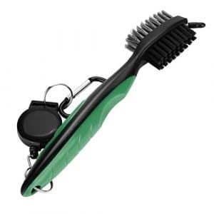 Bescita populaire Brosse de nettoyage de golf Club Groove Cleaner rétractable VIRB Elite Mousqueton, Green