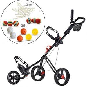 Caddytek chariot de golf pousse 3 roues Superlite Deluxe avec Practise Balles de golf et tees de 100 pcs Kits,Noir