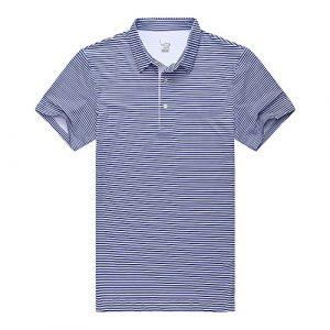 EAGEGOF Homme Polo Sport T-Shirt Manche Courte Technique Performance Golf Tennis Course Confortable Décontracté Chemise Rayures Bleu Marine, EN703 – L