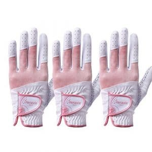 Henzzle Men & Women Golf Gloves (Women/ Henzzle/ Cuir Synthétique/ Both Hand/ Pink/ 3packs, XS(UK)-18(Asia))