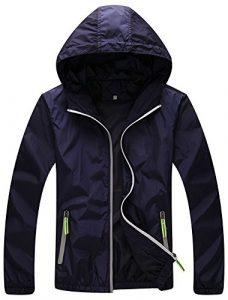 Mochoose Femme Légère Packable Veste de Sport à Capuche Protection UV Coupe Vent à Séchage Rapide(Bleu Marine,XS)