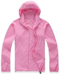 Mochoose Femme Légère Packable Veste de Sport à Capuche Protection UV Coupe Vent Imperméable à Séchage Rapide(Rose,XL)