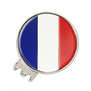 PINMEI Drapeau national de marqueur de balle magnétique Golf Chapeau Clip, france