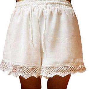 Short de Bain Taille élastique décontractée en Coton Doux au Genou Bermuda pour Femme – Beige-XL-US & EU22