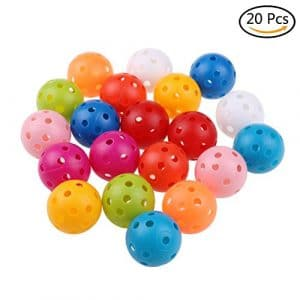 Suxidi 20pcs 41mm Couleurs mélangées Plastique Flux d'air Golf Practise Boule
