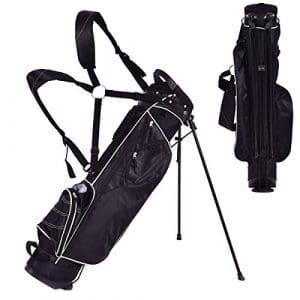 Blitzzauber 24 Sac de Golf Trépied Arrangement de Golf avec Support de Pied Noir/Bleu (Noir)