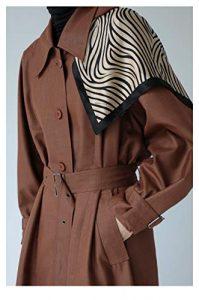 DFSXCZ Haut de Gamme Fil Teint Classique détachable à Capuche Long Fermoir Taille Coupe-Vent, S, Brun rougeâtre