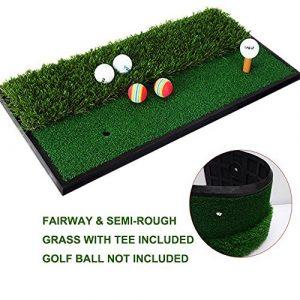 Foxcesd Tapis de golf, Golf A tapis avec réaliste de parcours et de premiers Portable Tapis de gazon de golf/entraînement Mini Golf Vert herbe Tapis de putting pour intérieur et extérieur de golf Sports 30,5x 61cm