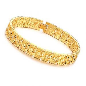Hrph Mode Vintage Carved Chaîne Plaqué Or Bracelet Hommes Bijoux Cadeaux Hommes