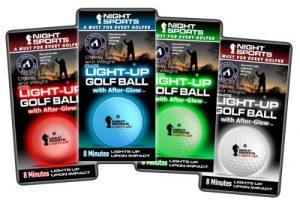 Night Sports USA éclairage de balle de golf (lot de 4), officiel Taille/Poids, Rouge/bleu/vert/blanc