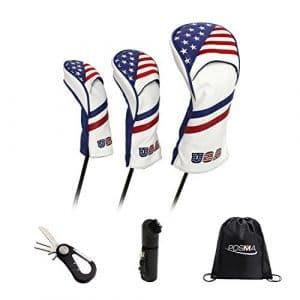 POSMA Cc060m Tête de Club de Golf Cuir PU Wood Coque 1,3,5Bundle avec Ensemble de 1pièce Relève-Pitch 5en 1Outil de réparation + 1Brosse Golf Wet + 1Noir Cinch Sack Sac de Transport
