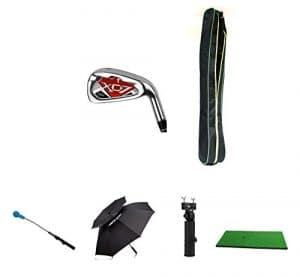 Posma Gc701me Manche en graphite haute qualité clubs de golf # 7pour homme Bundle Ensemble cadeau avec 1pièce Swing de golf d'entraînement + 1Tapis de golf Practise Hit 30x 60cm + 1DOUBLE Vented Canopy par Unique coupe-vent imperméable Parapluie + 1support parapluie + 1Posma clubs de golf léger Sac de transport