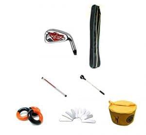 Posma Gc701mh Manche en graphite haute qualité clubs de golf # 7pour homme Bundle Ensemble cadeau avec 1pièce rétractable Boule Retriever (2m) + 1balle de golf Tube de rangement + Poids d'anneau de balançoire Rouge et Noir (3Pièces) + Laisse Poids rubans (10) pour clubs de golf Warm Up + 1Sac de golf de Taper + 1Posma clubs de golf léger Sac de transport