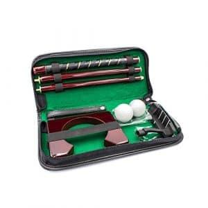 Posma Pg020wd Executive Portable en bois Putter de golf Putting Trainer Ensemble cadeau avec 1pièce Putter en bois, Lot de 2balles de golf, donnant de football pour intérieur ou extérieur Practise de formation, avec étui cuir PU–Golf d'entraînement