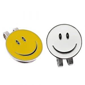 SGerste 2pcs solide Smile Face Aimant Chapeau Clip marqueur de balle de golf Casquette visière