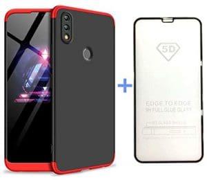 AILZH Coque Huawei Honor 8X Étui+5D Film de Verre trempé 360 degrés Housse PC Hard Shell Anti-Choc 360° Full-Cover Case Scratch Pare-Chocs Matte Casque de Protection(Rouge Noir)
