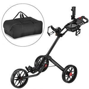 Caddytek Quad pliage chariot de golf 3 roues Super Deluxe et avec le sac d'entreposage, Noir