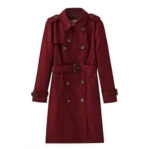 DFSXCZ 2018 / Hiver Nouveau Femmes Britannique Moyen Long Coupe-Vent Taille Skinny Coat, 165 / M, Claret