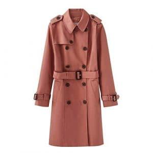 DFSXCZ 2018 / Hiver Nouveau Femmes Britannique Moyen Long Coupe-Vent Taille Skinny Coat, 170 / L, Rose