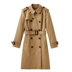 DFSXCZ 2018 / Hiver Nouveautés Femmes Britannique Moyen Long Coupe-Vent Taille Skinny Coat, 165 / M, Kaki
